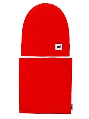Комплект (шапка, снуд) красный