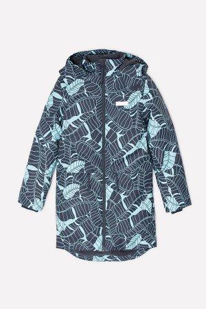 Пальто(Осень-Зима)+girls (темно-серый, минт листья)