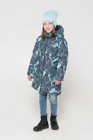 38050/н/2 ГР пальто для дев/темно-серый, минт листья