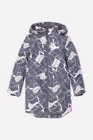 Пальто(Осень-Зима)+girls (темно-серый, розовые листья)