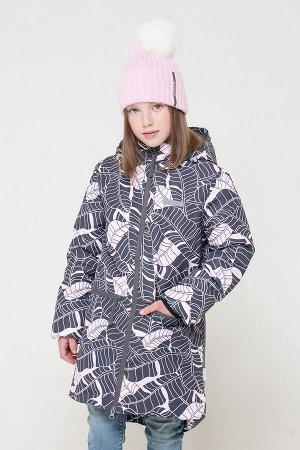 38050/н/1 ГР пальто для дев/темно-серый, розовые листья