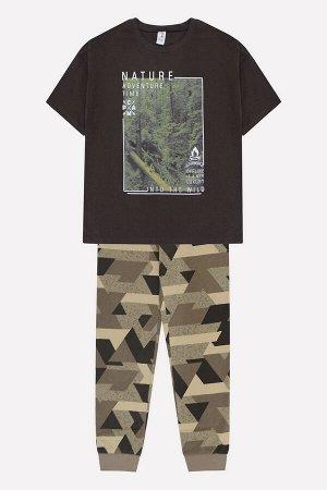 Комплект для мальчика КБ 2689 темно-коричневый + геометрия на бежево-зеленом
