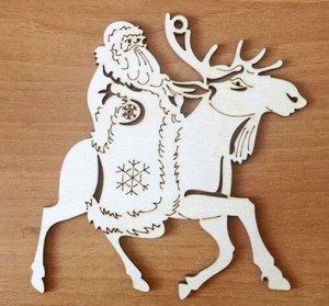 """Елочная игрушка """"Дед Мороз на лосе"""""""