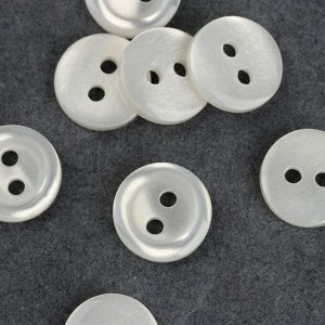 Набор пуговиц, 2 прокола, d = 11,5 мм, 10 шт, цвет белый