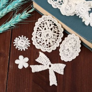 Набор вязаных элементов «Цветы и орнаменты», 10 шт, цвет белый