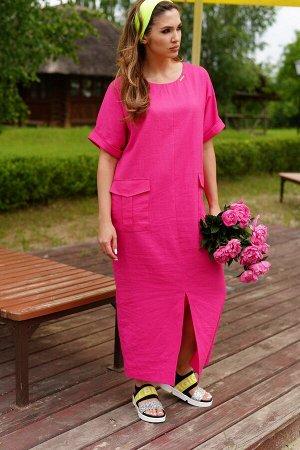 Платье Материал: текстиль, лен  Состав: лен 100%  Рост: 164 см  Описание: Яркое женское платье из льняной ткани, О-образного силуэта. Горловина овальной формы, с V-образным вырезом и декоративными зав