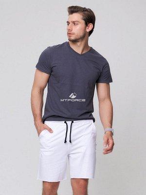 Летние шорты трикотажные мужские белого цвета 050620Bl