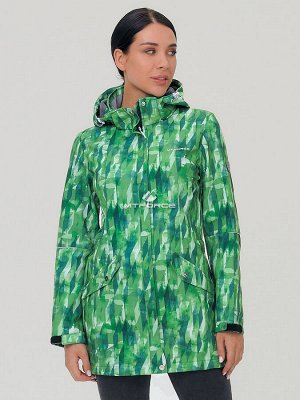 Женская осенняя весенняя парка softshell зеленого цвета