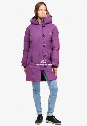 Женская зимняя парка фиолетового цвета 1806F