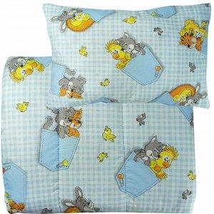 Набор одеяло 110х140 + подушка 40х60 Голубой