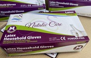 """Перчатки """"NATALIE CARE"""" латексные, одноразовые, неопудренные, нестерильные, белые, бытовые, размер """"M"""", 100 шт/упак."""