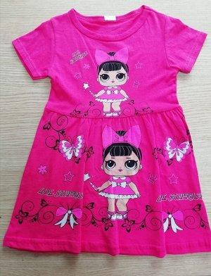 Платье Турция Цвет розовый 95% хлопок 5% эластан 104-110
