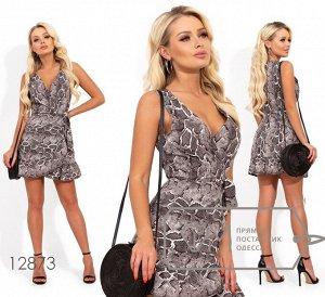 Платье-мини без рукавов, на запах с глубоким декольте и оборкой Фабрика Моды 12873