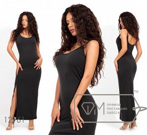 Трикотажное платье в пол на бретелях с глубоким декольте и высоким разрезом Фабрика Моды 12961