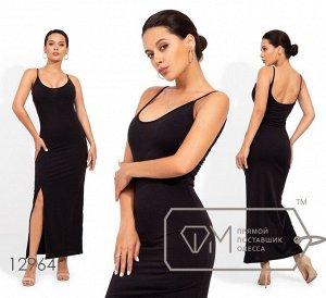Трикотажное платье в пол на бретелях с глубоким декольте и высоким разрезом Фабрика Моды 12964