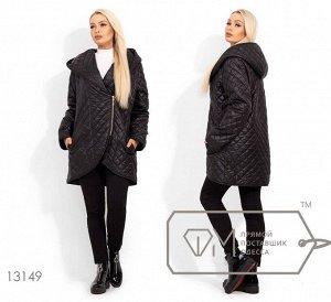Куртка удлиненная с капюшоном и закругленным подолом 13149 Фабрика Моды