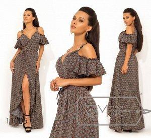 Платье-халат из софта на запах, бретелях с открытыми плечами коротким рукавом-волан и асимметричным подолом Фабрика Моды 11005