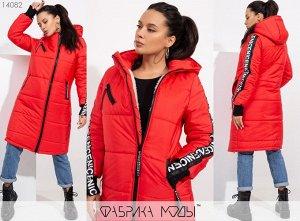 Пальто зимнее с капюшоном на овчине и декором из репсовой ленты Фабрика Моды 14082