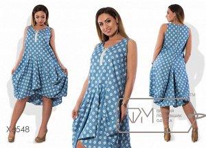 Платье-кокон миди из коттона без рукавов с прямым лифом на молнии и асимметричными драпировками на юбке Фабрика Моды X6548
