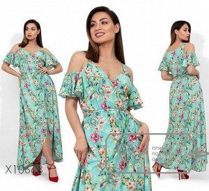Сарафан-макси на запах с цветочным принтом, открытыми плечами и асимметричным подолом Фабрика Моды X10668