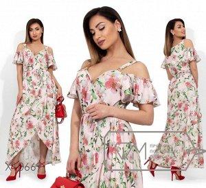 Сарафан-макси на запах с цветочным принтом, открытыми плечами и асимметричным подолом Фабрика Моды X10669