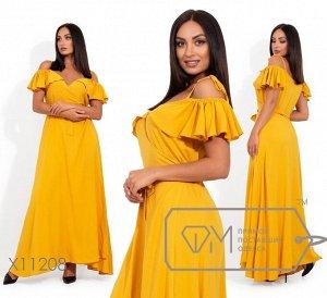 Платье-макси на запах с открытыми плечами и регулируемыми бретелями Фабрика Моды X11208