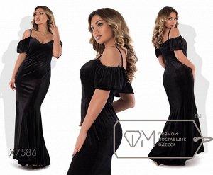 Платье макси кроя русалка на тонких бретельках с глубоким вырезом лифа и оборками-рукавами X7586 Фабрика Моды