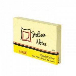 Бумага для заметок с клеевым краем 51х38 мм 100л 2 шт желтый 653/жел Eagle {Китай}