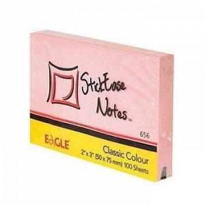 Бумага для заметок с клеевым краем 51х75 мм 100л розовый 656/роз Eagle {Китай}