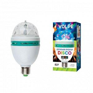 Светодиодный светильник-проектор ULI-Q301. Серия DISCO, многоцветный. Работа от сети 220В. Для установки в электропатрон Е27. Цв