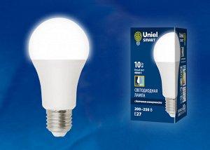 """Лампа светодиодная с датчиком освещенности LED-A60-10W/4000K/E27/PS PLS10WH . Форма """"A"""", матовая. Белый свет (4000K). Картон."""