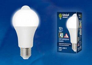 """Лампа светодиодная с датчиком освещенности и датчиком движения LED-A60-12W/4000K/E27/PS+MS PLS10WH .  Форма """"A"""", матовая. Белый"""