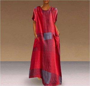 Платье Платье. Материал: Смешанный хлопок. Размер: (бюст, длина см) S (94.5, 122.5), M (99.5, 124.5), L (104.5, 126.5), XL (109.5, 128.5), 2XL (114.5, 130.5), 3XL (119.5, 132.5).
