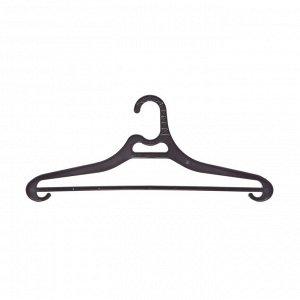 Вешалка-плечики Office Clean, набор 3шт, пластик, плоская, перекладина, крючки, 44см (р.48-52),черны