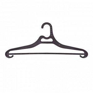Вешалка-плечики Office Clean, набор 3шт, пластик, плоская, перекладина, крючки, 48см (р.52-54),черны