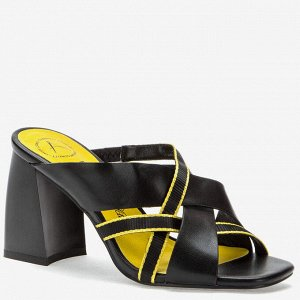 907027/04-04 черный/желтый иск.кожа/текстиль женские туфли открытые
