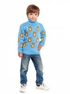 Свитер Количество в упаковке: 1; Артикул: ТРИС-864/; Цвет: Голубой; Ткань: Пряжа; Состав: 50% шерсть,50% акрил; Цвет: Голубой Свитер детский с жаккардовым рисунком