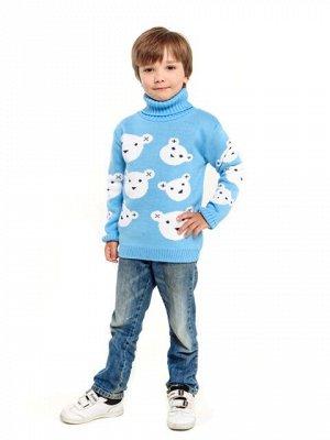 Свитер Количество в упаковке: 1; Артикул: ТРИС-865/; Цвет: Голубой; Ткань: Пряжа; Состав: 50% шерсть,50% акрил; Цвет: Голубой Свитер детский с жаккардовым рисунком