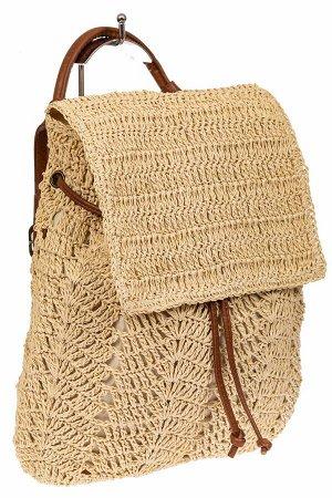 Сумка-рюкзак плетеная из джута, цвет молочно-бежевый