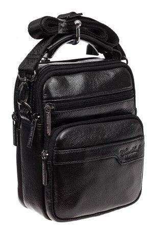Мужская кожаная сумка через плечо, цвет черный