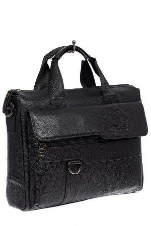 Мужская кожаная сумка - портфель, цвет черный