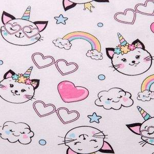 Сарафан для девочки звездное облачко, белый с розовым Рост 128