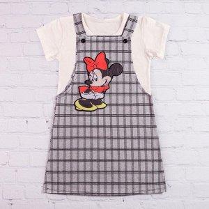 Сарафан для девочки + футболка, клетка, серый