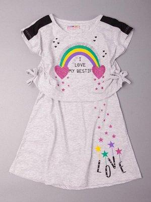 Сарафан для девочки 2 в 1, радуга, звездочки, светло-серый