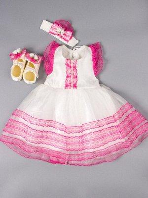 Платье нарядное для девочки + повязка + пинетки, кремовый
