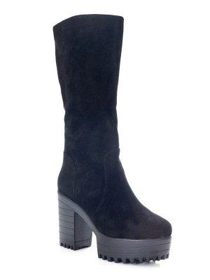 Сапоги Страна производитель: Китай Полнота обуви: Тип «F» или «Fx» Материал верха: Замша Цвет: Черный Материал подкладки: Натуральный мех Форма мыска/носка: Закругленный Каблук/Подошва: Каблук Высота