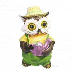 """Фигура декоративная """"Филин в шляпке с лейкой"""" L10W9,5H15"""