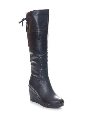 Сапоги Страна производитель: Китай Полнота обуви: Тип «F» или «Fx» Цвет: Черный Каблук/Подошва: Танкетка Вид обуви: Сапоги Размер женской обуви: 36, 36, 37, 38 натуральная кожа натуральный мех \ полны