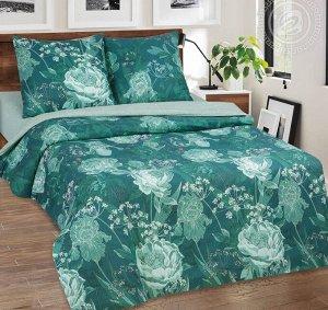 Постельное бельё из поплина 2 спальное - АРТ - DE LUXE с простынью на резинке - Калипсо