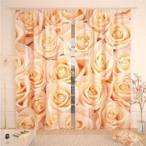 Фотошторы «Мягкие бежевые розы», размер 145 ? 260 см, габардин